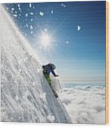 Steep Summer Volcano Skiing Wood Print