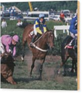 Steeplechase Spill - 1 Wood Print