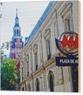 Steepled Building Being Restored On Side Street Of Plaza De Armas In Santiago-chile  Wood Print
