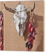 Steer Skull In Santa Fe Wood Print