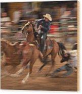 Steer Wrestling Action Wood Print