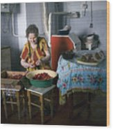 Stefania Cleans Strawberries In Chortkiw Ukraine Wood Print