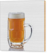 Stein Filled With Amber Beer  Wood Print