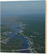 Steinhatchee Arial View Wood Print