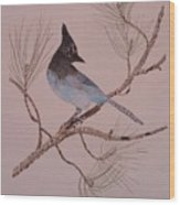 Stellar Jay On Ponderosa Branch Wood Print