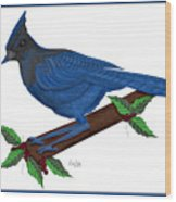 Stellari In Blue Wood Print