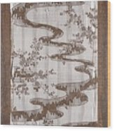 Stencil For Textile With Pattern Of Bush Clover And Meandering Stream Wood Print
