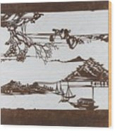 Stencil With Pattern Of Seascape On White Ground Wood Print