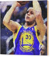 Steph Curry, Golden State Warriors - 19 Wood Print