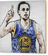Steph Curry, Golden State Warriors - 20 Wood Print