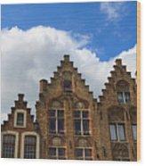 Stepped Gables Of The Brick Houses In Jan Van Eyck Square Wood Print