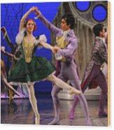 Stepsister Ballerinas En Pointe And Guests Ballroom Dancing In B Wood Print