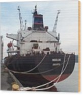 Stern Of The Vessel Indrani At Dock Wood Print
