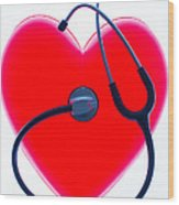Stethoscope And Plastic Heart Wood Print