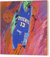 Steve Nash-vision Of Scoring Wood Print by Bill Manson