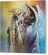 Steven Tyler 01  Aerosmith Wood Print