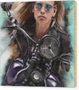Steven Tyler On A Bike Wood Print