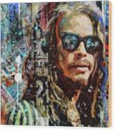 Steven Tyler Tribute Wood Print