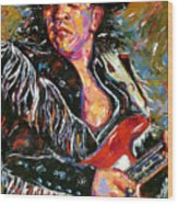 Stevie Ray Red Guitar Wood Print
