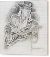 Stevie Ray Vaughan - Texas Twister Wood Print by David Lloyd Glover