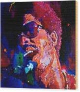 Stevie Wonder Wood Print by David Lloyd Glover