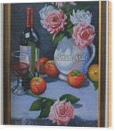 Still Life 1,rose N Wine Wood Print