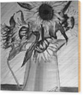 Still Life - 6 Sunflowers In A Jug Wood Print