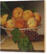 Still Life - Basket Of Peaches Wood Print