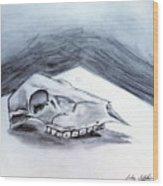 Still Life Drawing Cow Skull 02 Wood Print