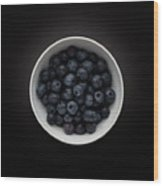 Still Life Of A Bowl Of Blueberries. Wood Print