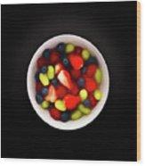 Still Life Of A Bowl Of Fresh Fruit Salad. Wood Print