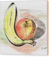 Still Life Of Apple And Banana  Wood Print