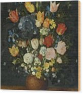Still Life Of Flowers In A Stoneware Vase Wood Print