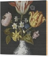 Still Life Of Flowers In A Wan-li Vase Wood Print