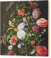 Still Life Of Flowers Wood Print by Jan Davidsz de Heem