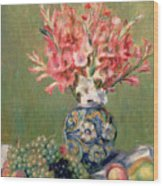 Still Life Of Fruits And Flowers Wood Print