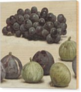 Still Life Of Grapes And Figs Wood Print