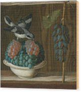 Still Life Of Grapes With A Gray Shrike Wood Print
