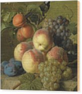 Still Life Of Peaches  Grapes And Plums On A Stone Ledge With A Bird And Butterfly Wood Print