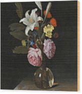 Still Life Of Roses Lilies And Other Flowers In A Glass Vase On A Marble Ledge Wood Print