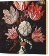 Still Life Of Variegated Tulips In A Ceramic Vase With A Wasp A Dragongly A Butterfly And A Lizard Wood Print
