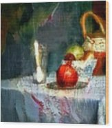 Still Life Oil Painting Table With Pomegranate Ceramic Kettle Glass Knife And Bowl Of Fruit Pears Linen Sketch Painting Life Drawing Wood Print