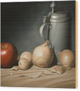 Still Life Painting With Onions Wood Print