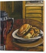 Still Life Pancakes And Coffee Painting Wood Print