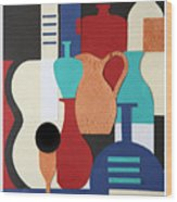 Still Life Paper Collage Of Wine Glasses Bottles And Musical Instruments Wood Print