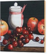Still Life 'preserve Pot And Fruit' Wood Print