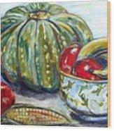 Still-life Pumpkin And Apples Wood Print