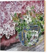 Still Life Vase And Lace Watercolor Painting Wood Print