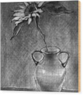 Still Life - Vase With One Sunflower Wood Print