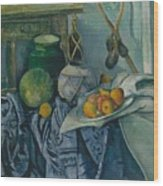 Still Life With A Ginger Jar And Eggplants Wood Print